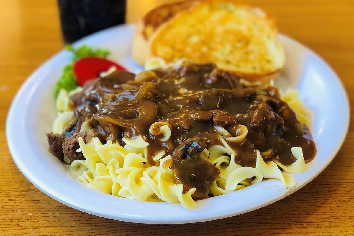 Tenderloin Tips Over Noodles
